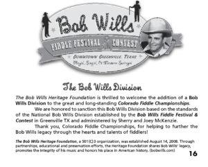 Bob Wills Fiddle Division